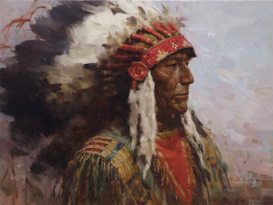 Fine art oil painting by z s liang for Mural on indian red ground
